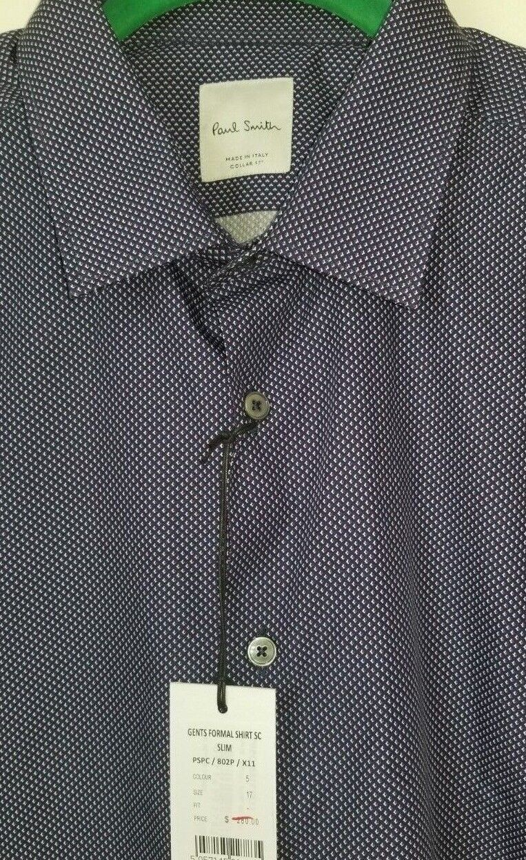 PAUL SMITH NAVY Slim-fit Cotton Shirt. Size LARGE 17. Made in ITALY.