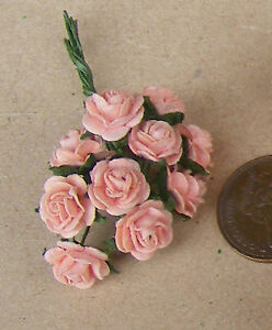 Of White Paper Roses Tumdee Dolls House 10 Flowers 1:12 Scale Single Bunch