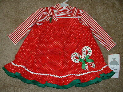 Rare Editions 2T 2 Dress Boutique Christmas Candy Cane Set Toddler Girl NWT $52
