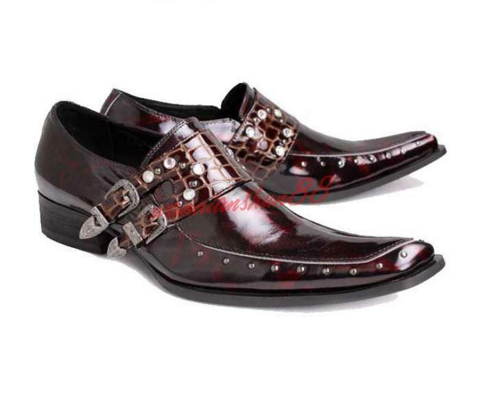 Mens Rivet Buckles Pointy Toe Leather Dress Formal Crack shoes Croco Slip on