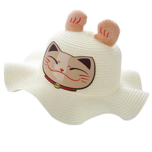 EE/_ Baby Girl Cartoon Rabbit Sheep Panda Bucket Hat Sun Protection Straw Cap Mys