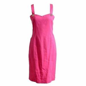 Details About Versace Jeans Couture Linen Pink Sleeveless Women S Sheath Dress Us L It 44