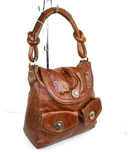 1205cf8c9d8f Details about Medium Large M S Autograph Tan Brown Distressed Leather Hobo  Shoulder Bag