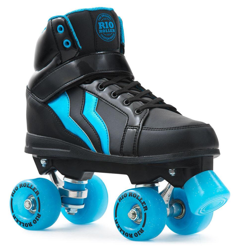 Rio Roller - Tritte Style Erwachsene Skate - Schwarz/Blau Quad Rollschuhe