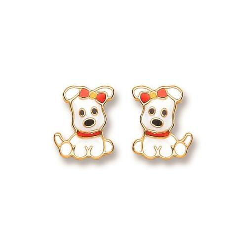 Genuine 9ct Yellow Gold 5mm Small Enameled White Puppy Studs Earrings Gift Boxed