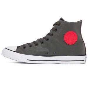 Converse-CTAS-HI-153966C-Chuck-Taylor-All-Star-Black-Cast-Iron-Grey-Red-NEW-MENS