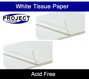 1000 SHEETS OF WHITE COLOURED ACID FREE WRAPPING TISSUE PAPER 450x700mm 18GSM