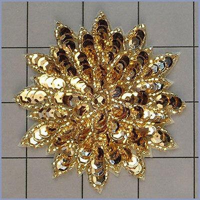 GOLD  SEQUIN BEADED FLOWER APPLIQUE  2409-A