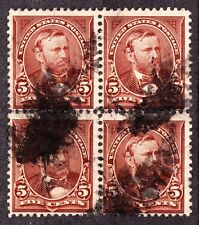 US 270 5c Grant Used Block of 4 F-VF SCV $30