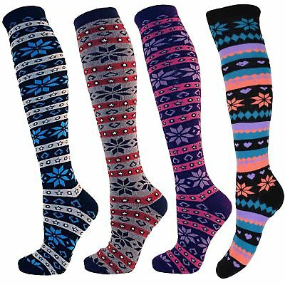 Ladies Knee High Cotton Rich RJM Patterned Socks SK238