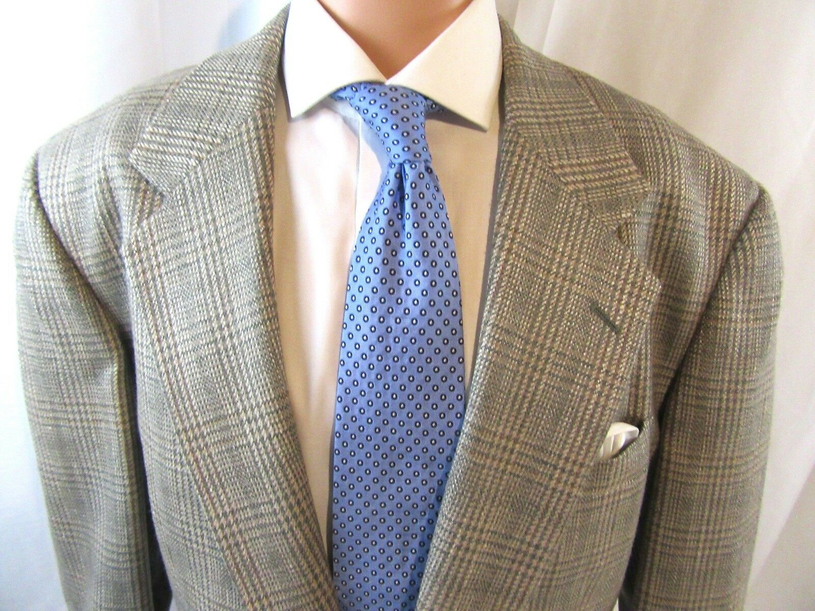 Mens Saks Fifth Avenue Perry Ellis Wool Silk Blazer, Sport Coat, grey taupe 46 R
