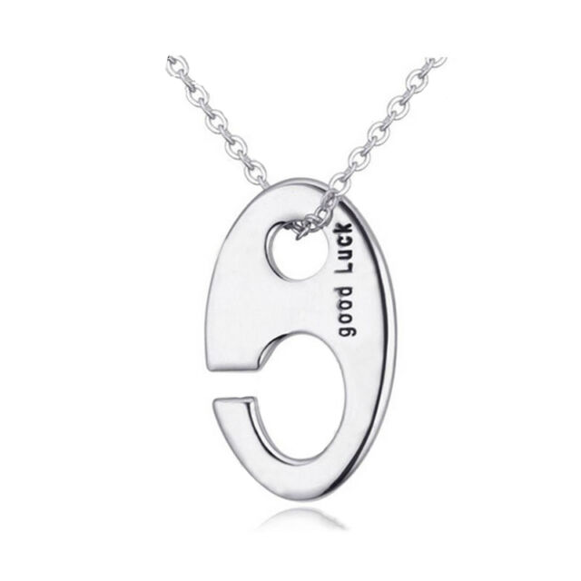 925 Silver Plt Good Luck Lucky Charm Hook Symbol Engraved Necklace