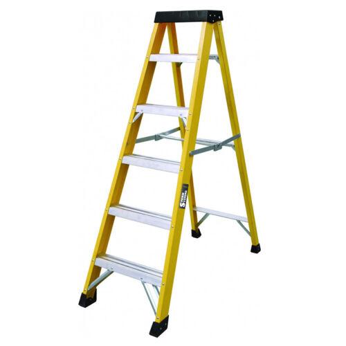 6 Tread GRP Electricians Heavy Duty Tread EN131 Fibreglass Step Ladder 30000v