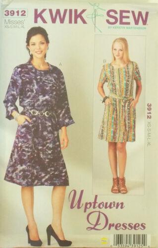 KWIK SEW SEWING PATTERN DRESS MISSES/' SLIGHT DROPPED WAIST # 3912 XS-S-M-L-XL