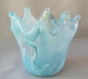 Genuine Italian Art Deco Glass Bowl Blue Shades Tammaro Italy Murano No 516