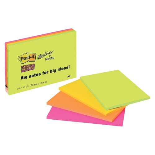 3M POST-IT LARGE NEON MEETING NOTES SUPER STICKY 152 x 101mm 6445-4SS 4 PACK