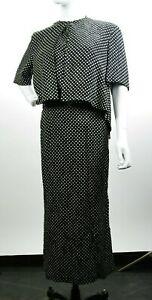 VTG-Christian-Dior-2pc-Black-Dot-White-Dress-Cape-Sz6-Paris-France-Robes-DS52