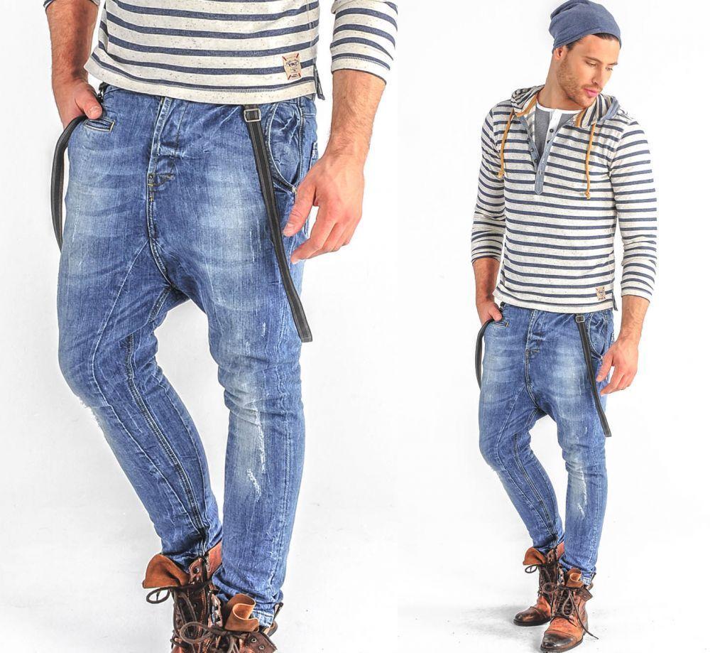VSCT Clubwear Brad Denim Jeans drogato con bretelle