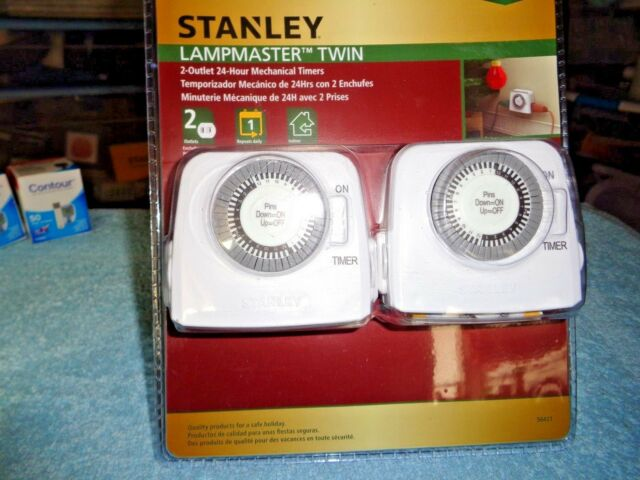 Stanley TimeIt Twin Pro Mechanical Indoor 2 Outlet Timer w// LED Indicator 56408