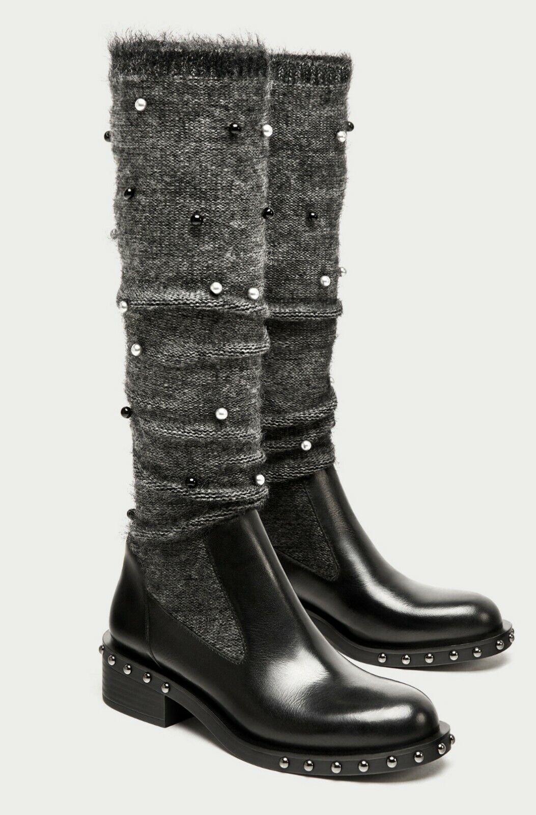 ZARA Schwarz Zara Gr.39 Stiefel Perlen Leder Damen Stiefel