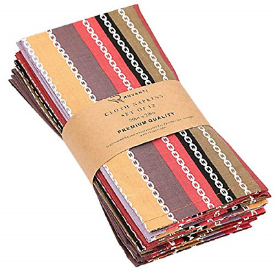 NEW Cotton Craft Dinner Napkins 20 by 20 Inch Pack of 12 Multi Colors SHIPS FREE