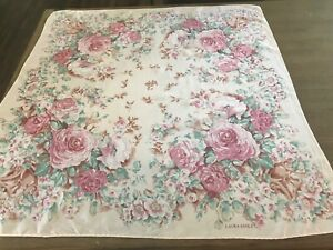 Laura-Ashley-Pink-Floral-Roses-Scarf-Silk-33-034-Square-Vintage