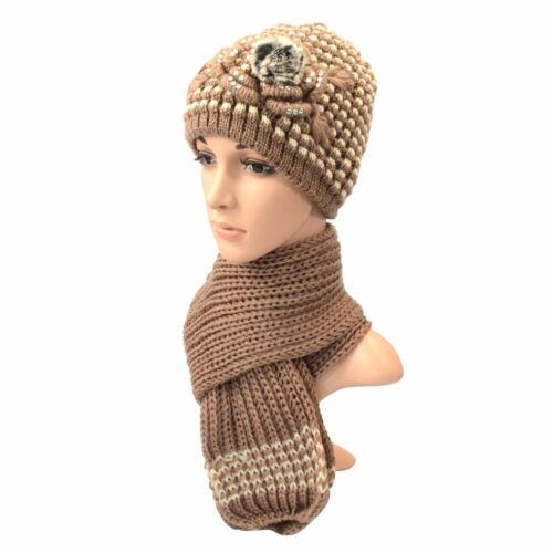 Ladies Knitted Flower Beanie /& Scarf Set Girls Soft Warm Winter Fashion Hat Lot