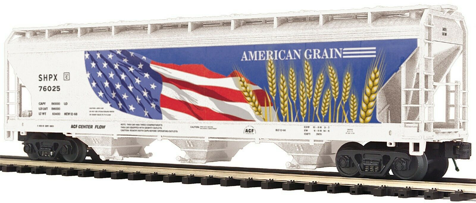 MTH 20-97899 AMERICAN GRAIN 3 BAY CENTER FLOW HOPPER BOTH RD. NUMBERS 2 CARS