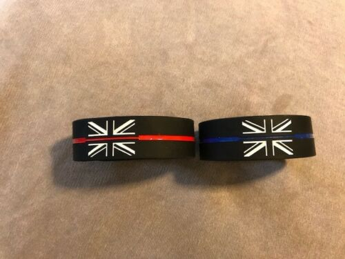 Fire UK Service Memorial Wristband Thin Blue Line /& Thin Red Line Police