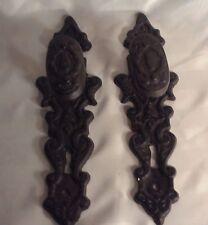 "Set/2 Old Cast Iron Antique Style Door Knob Gate Handle Pulls 11"" Back Face Key"