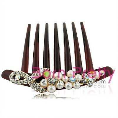 NEW Pearl & Crystal French Twist Thick Hair Comb Styling Clip Hair bobby pin