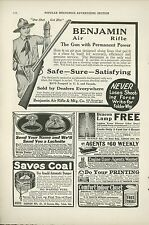 1918 Benjamin Air Rifle Ad Pellet BB Gun Boy Scout Hunting Shooting Pump
