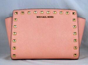 9b0068b62e374f Michael Michael Kors Selma Stud Medium Pale Pink Saffiano Leather ...