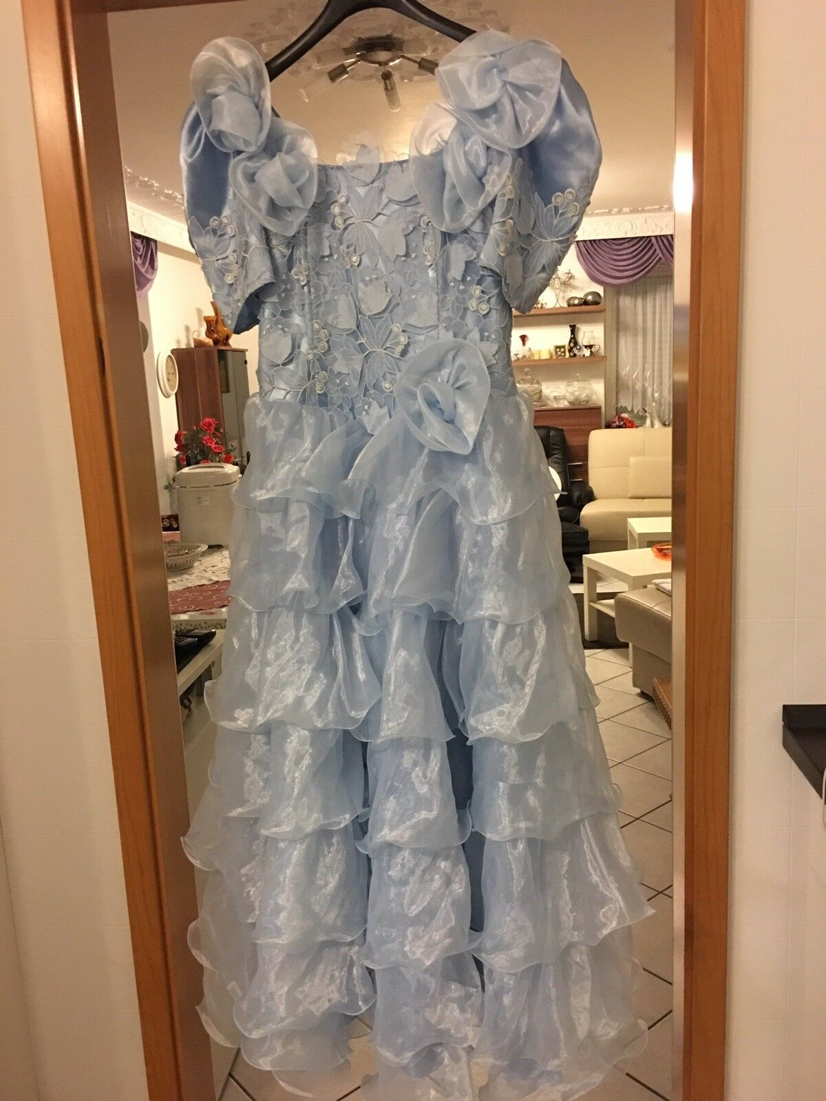 Abendkleid Kleemeier Hof 40  Vintage Hochzeit Fest Kleid Blau Schützenkleid Top