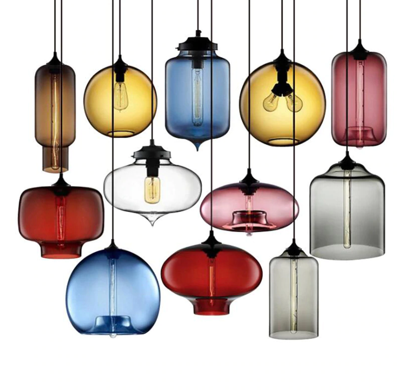 Nordic Modern Farbeful Glass Bowl Pendant Lights E27 Loft Hanging Lamps Room