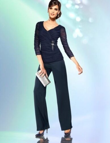 34//17 40//20 46//23 Ashley Brooke BLU larghezza elegante da sera-Pantaloni Tg NUOVO 082501