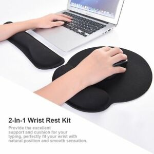 Black-PC-Laptop-2-in-1-Memory-Foam-Wrist-Rest-Pad-Keyboard-Mouse-Support-Cushion