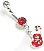 """14g 7//16/"""" Christmas Candy Cane Stocking Belly Button Ring"""