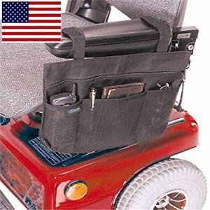 Wheelchair-Side-Bag-Armrest-Pouch-Organizer-Pocket-Phone-Holder-Scooter-Black