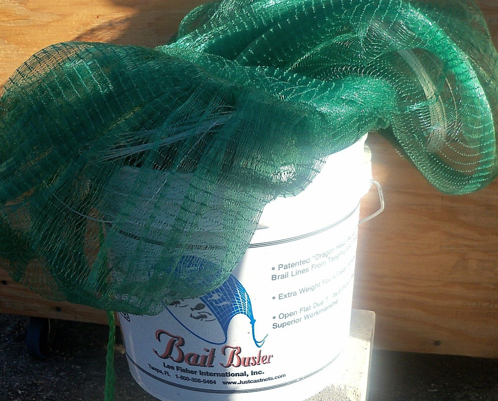 LEE FISHER  6'  RADIUS, 1 2  SQUARE BAIT BUSTER GREEN PREMIUM CAST NET 6 PANEL  free delivery and returns