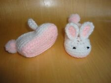 Handmade crochet knitted baby bunny slippers in pink-white for3-6months old baby