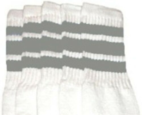 "22"" KNEE HIGH WHITE tube socks with GREY stripes style 1 22-104"
