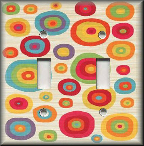 Metal Abstract Art Light Switch Plate Cover Colorful Circles Modern Art Decor