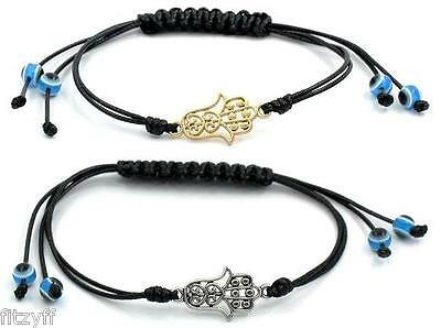 Wax Cord Braiding Adjustable Bracelet Hamsa Hand of Fatima Turkish Evil Eye Palm