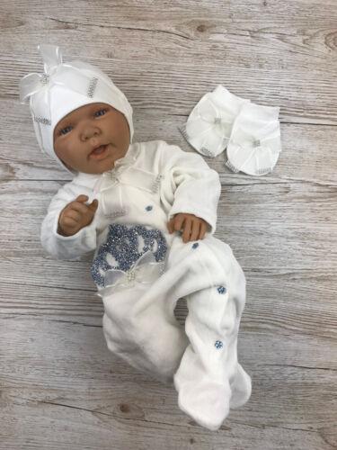 Nicki Babyset Taufanzug Strampler 3-teilig Set Jungen Blau 56 62 68 Prinz Krone