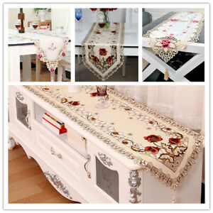 Tasseled-Edge-Table-Runner-Floral-Lace-Embroidered-Tablecloth-Dining-Table-Decor