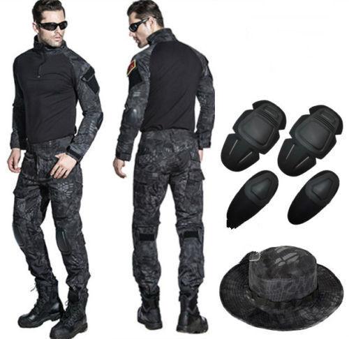 TYPHON Tactical Combat Uniform Sets Army Shirt Pants Military Elbow Knee Pads