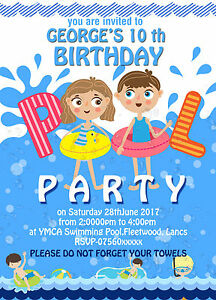 Image Is Loading Personalised Birthday Invitations Swimming Pool Party X 8