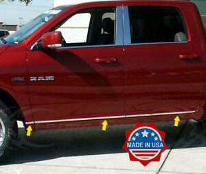 fits-2009-2018-Dodge-Ram-Crew-Cab-6Pc-Body-Side-Trim-Molding-Accent-1-034-Flat