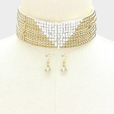 Gorgeous Glam  WIDE Gold Silver Bead Choker Necklace Set By Rocks Boutique